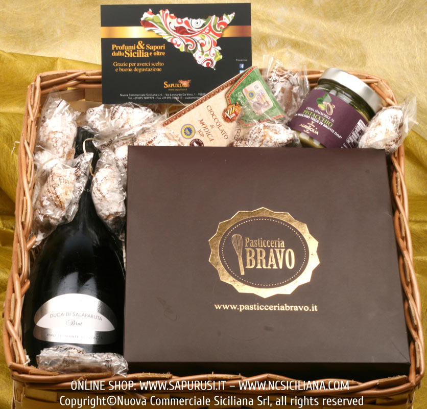 TRADITIONAL GIFT BASKET N.1 - TYPICAL SICILIAN FOOD AND WINE