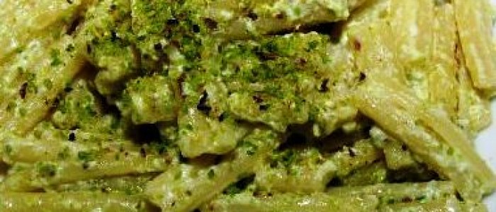 Pasta with fresh Ricotta cheese and Pistachios